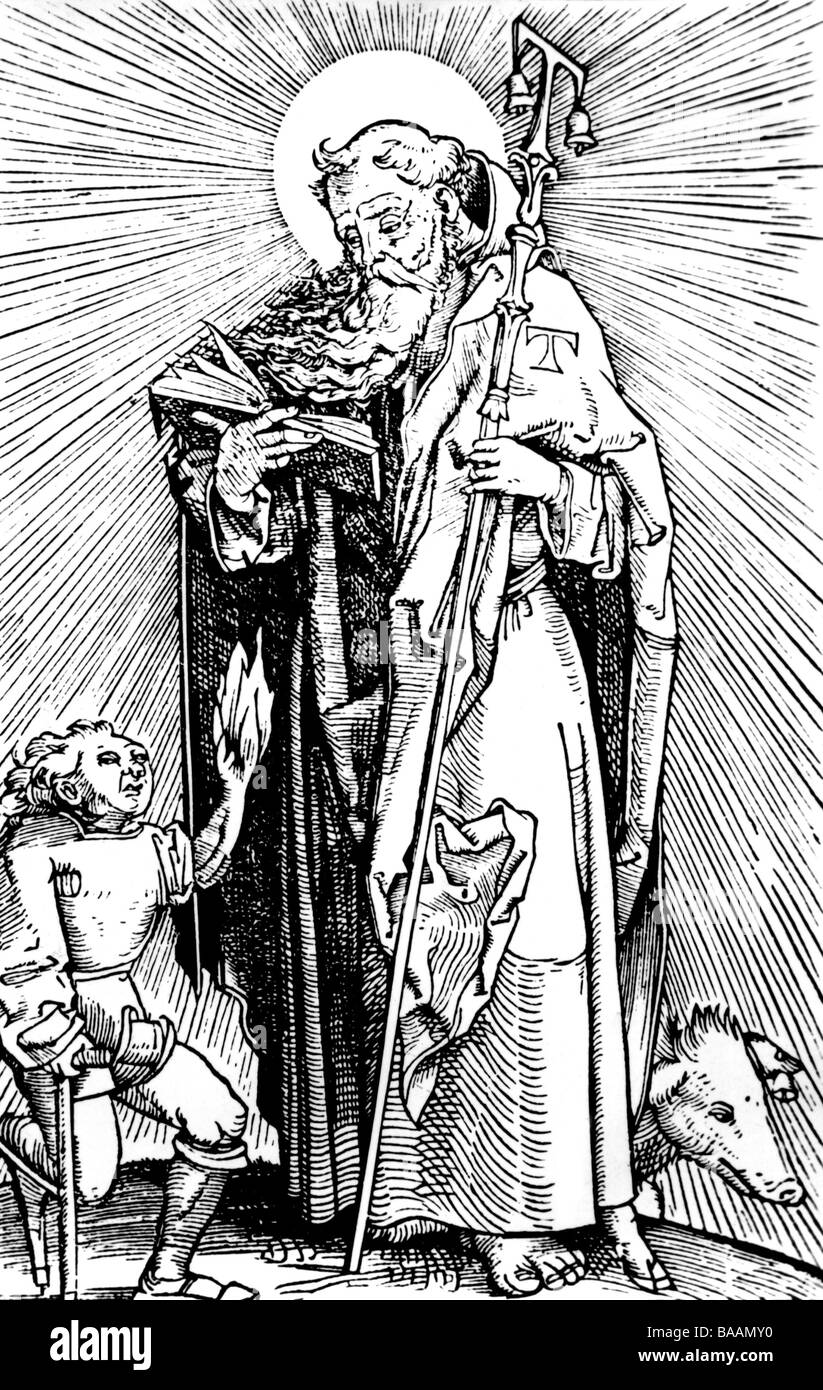 Anthony the Great, circa 251 - circa 356, Egyptian Saint, after woodcut by Hans Wechtlin from Hans von Gerssdorf - Stock Image