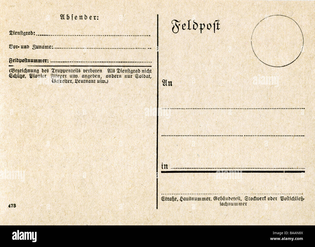 events, Second World War / WWII, communication, army postal service card blank, Germany, circa 1943, Additional - Stock Image