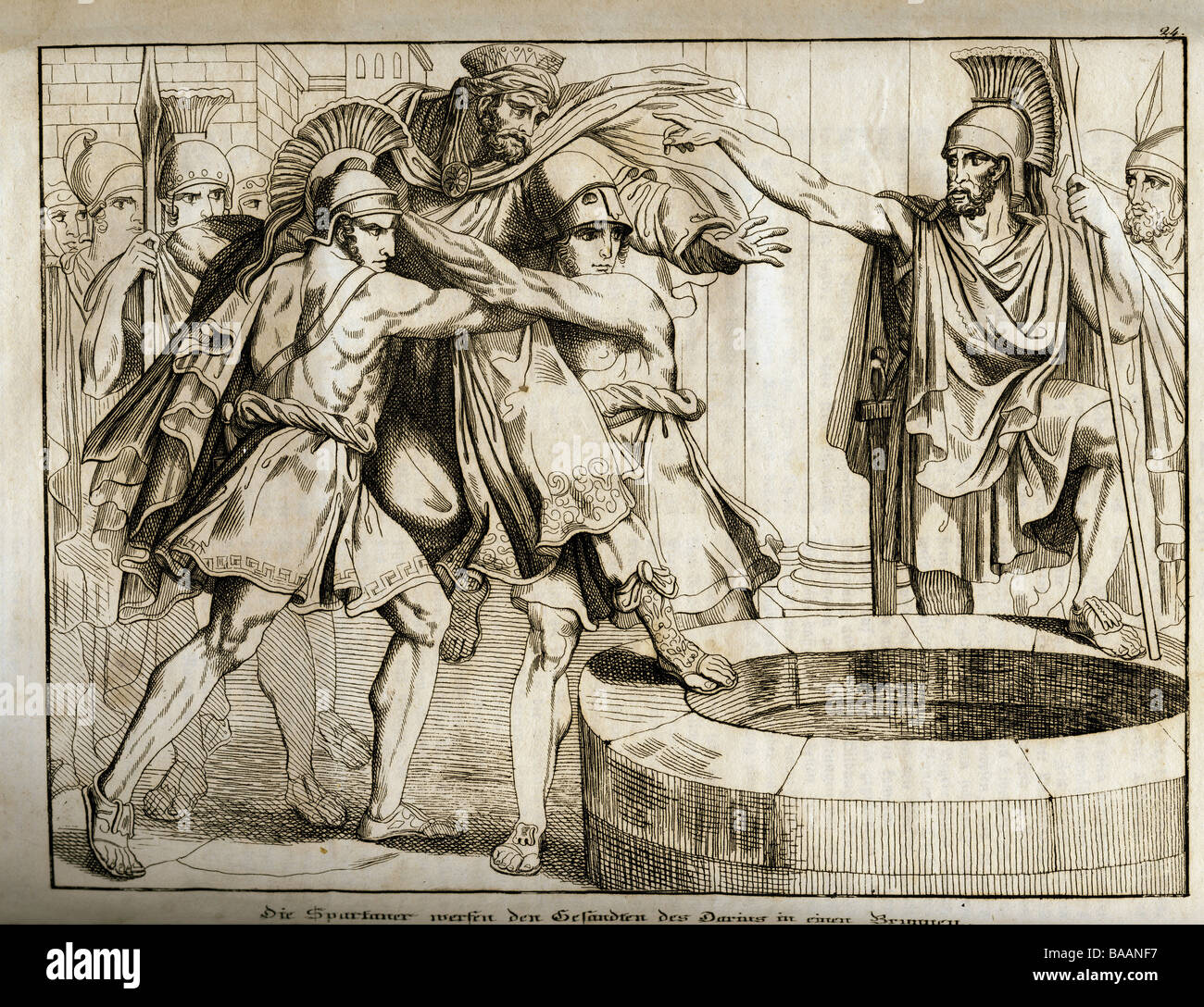 """events, Greco-Persian Wars 499 - 448 BC, """"The Spartans throwing the ambassadors of Darius in a well"""", 490 BC, copper Stock Photo"""