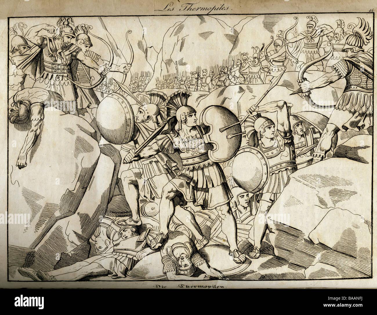 """events, Greco-Persian Wars, 499 - 448 BC, """"Thermopylae"""", 11.8.480 BC, copper engraving, """"Vorzeit und Gegenwart"""", Stock Photo"""