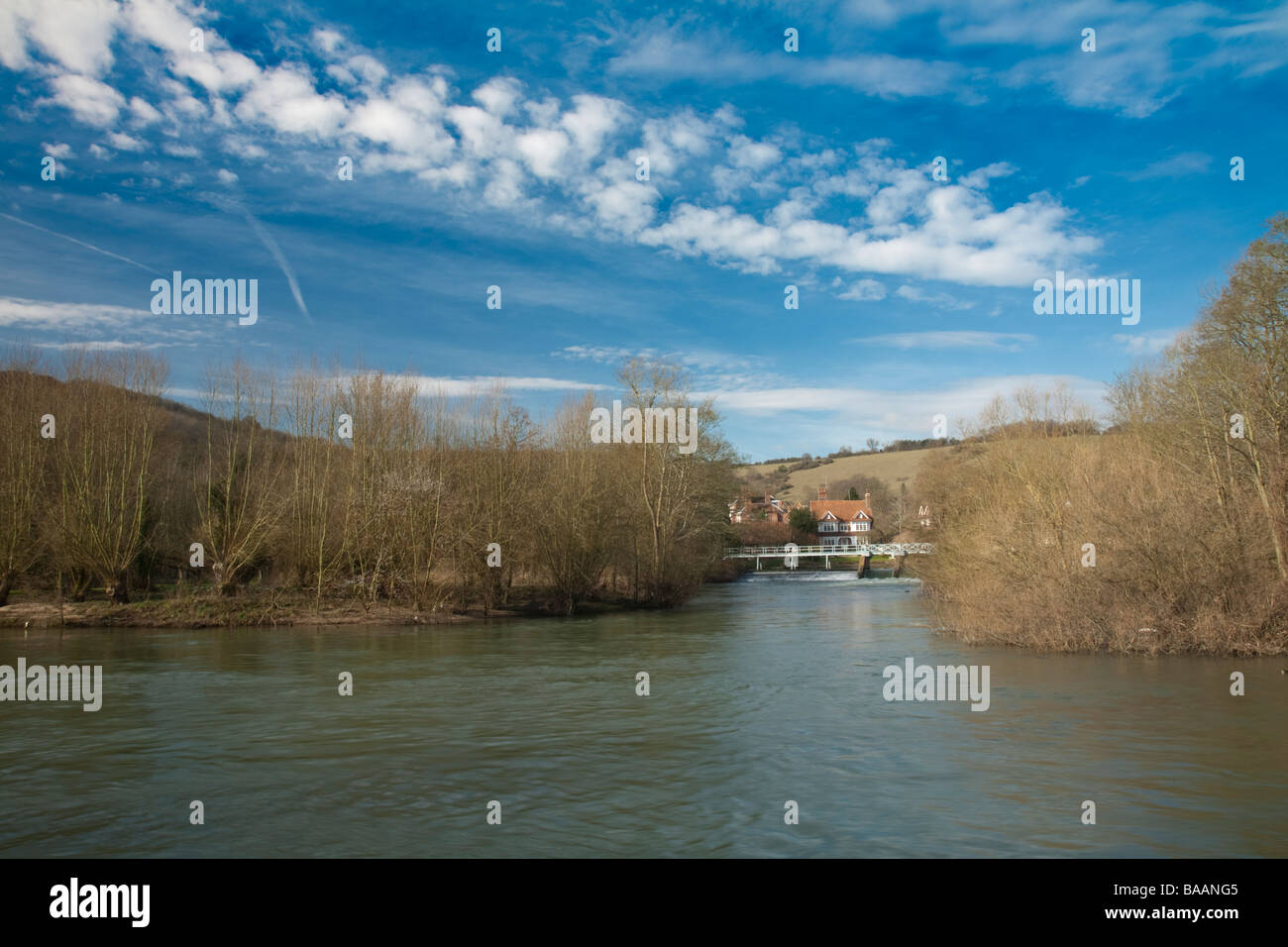 River Thames and Streatley weir from the towpath at Goring Oxfordshire Uk - Stock Image