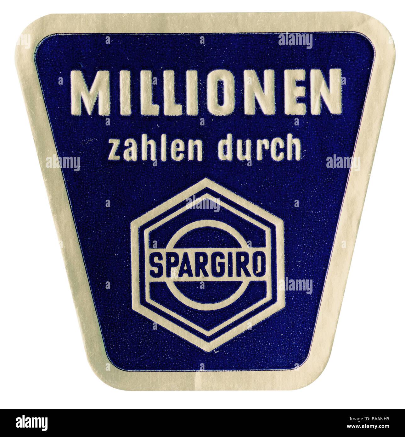 advertising, stamp 'Millionen zahlen durch Spargiro' (million people paying by Spargiro), Germany, 1960s, - Stock Image