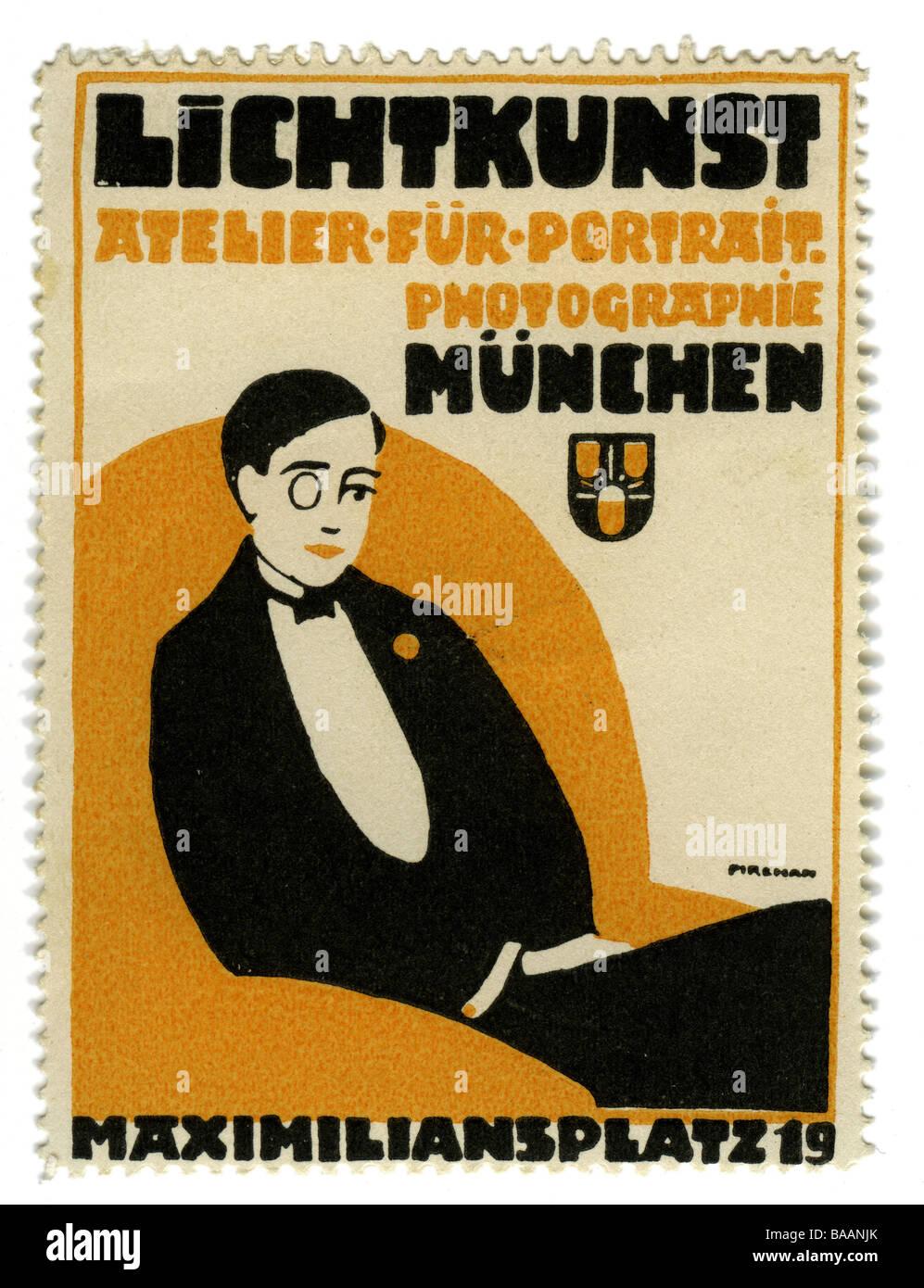 advertising, stamps, Lichtkunst - Atelier für Portrait Photographie, Munich, Germany, circa 1910, Additional - Stock Image