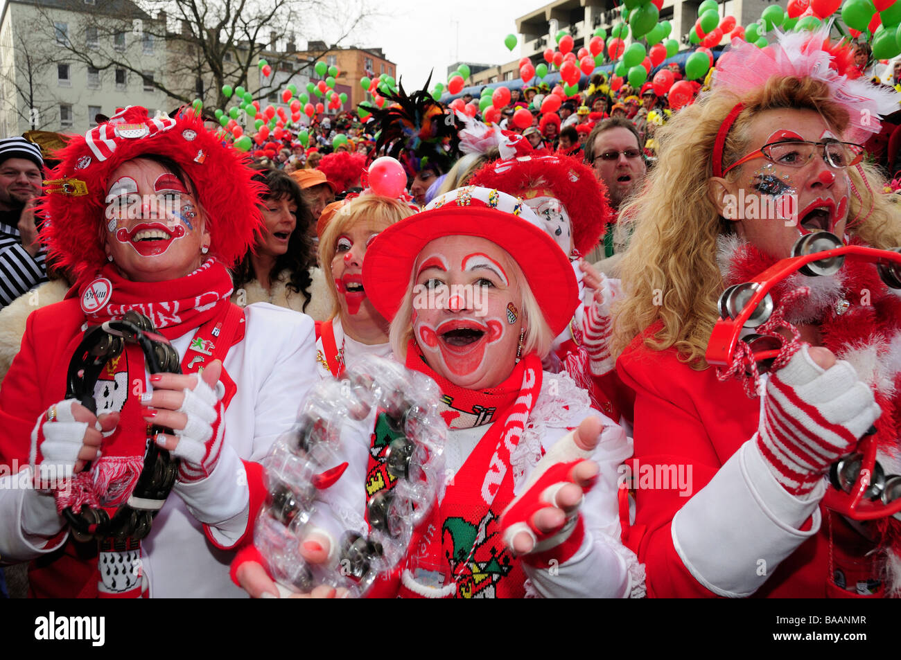 Germans celebrating carnival in Cologne - Stock Image