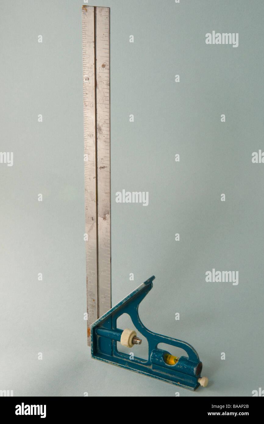 Combination carpenter square - Stock Image