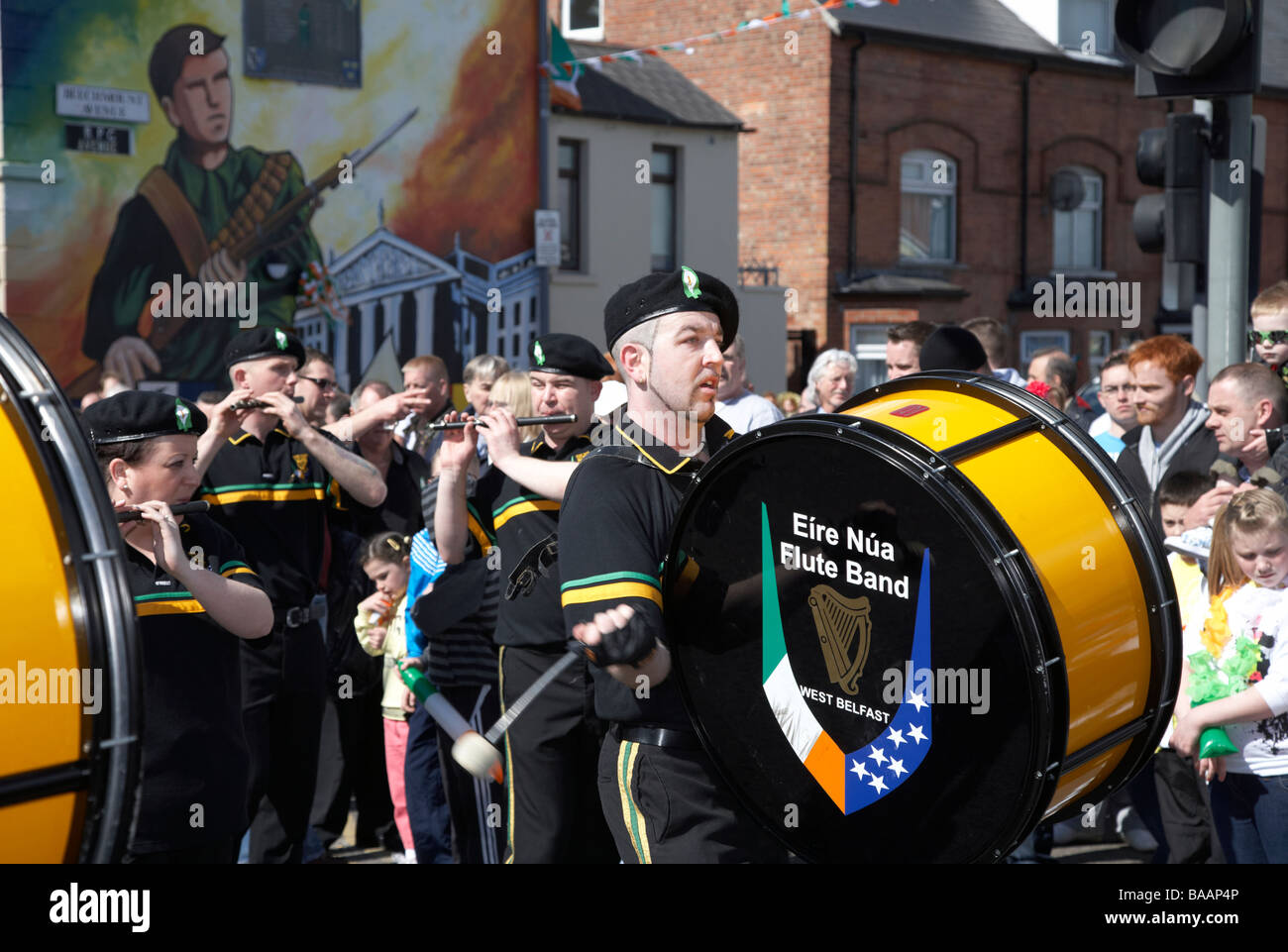 drummer of the eire nua republican flute band march down the falls road on Easter Sunday during the Easter Rising - Stock Image