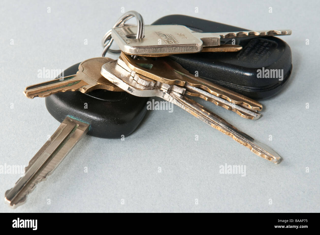 Pack of keys and car remote chipkey door opener - Stock Image