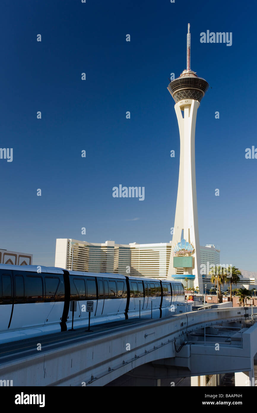 Stratosphere Hotel Las Vegas and Monorail at the Sahara Station Copy Space Skyline - Stock Image