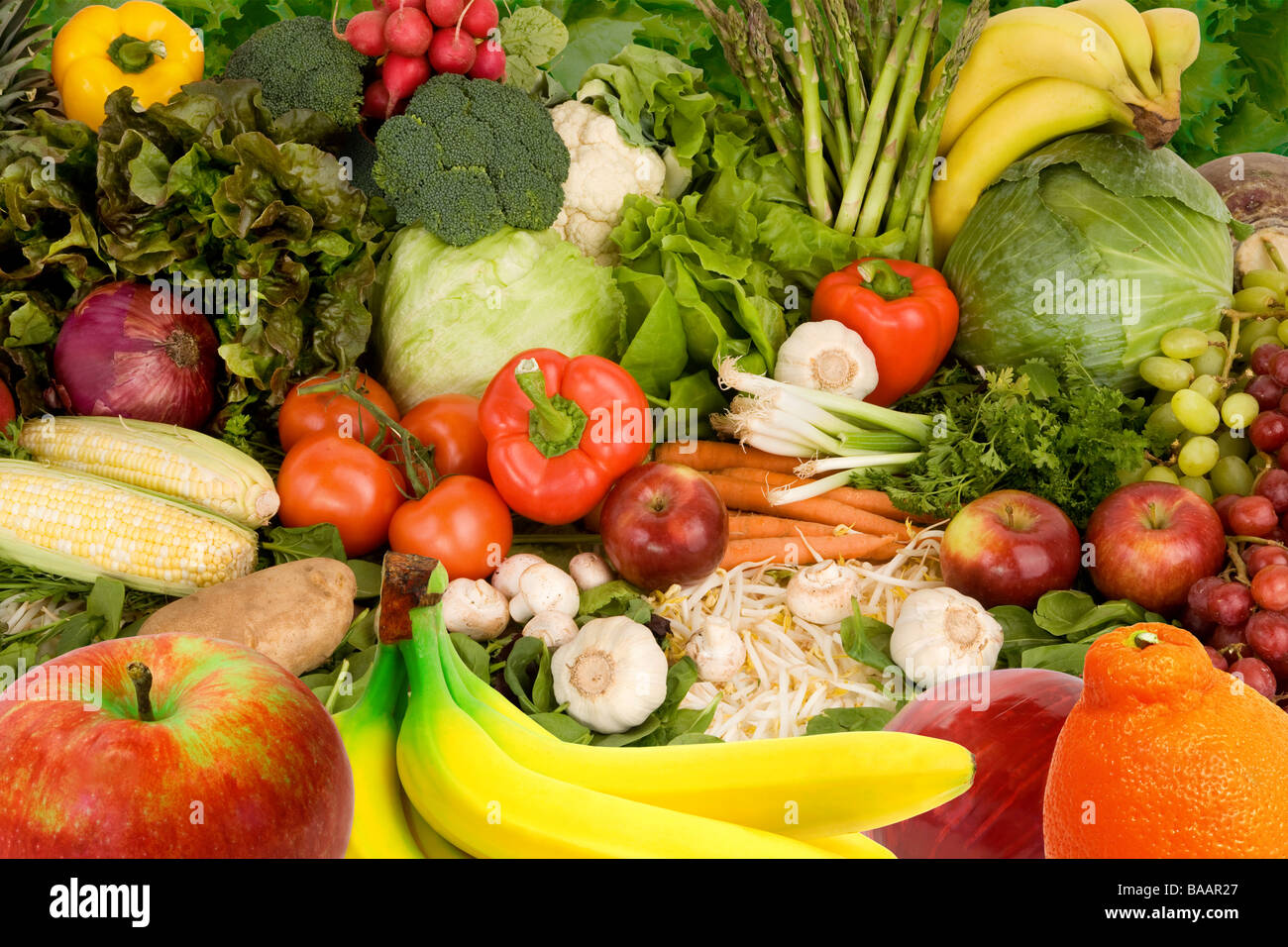 This is a display of various fruits and vegetables Stock Photo