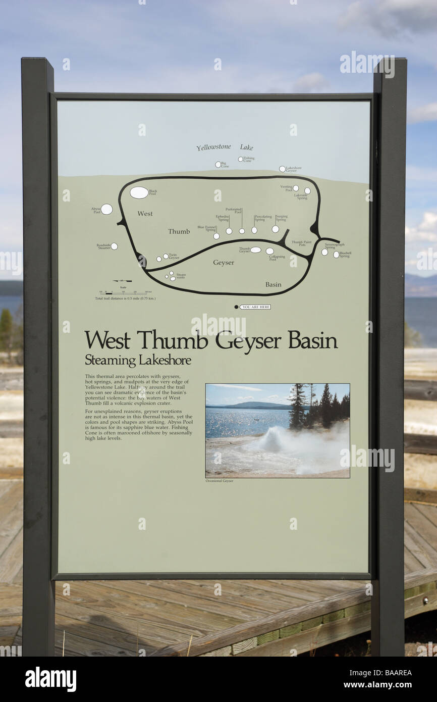 West Thumb Geyser Basin Map Stock Photos & West Thumb Geyser ... on map of grand prismatic spring, map of yellowstone geysers, map of mud volcano, map of firehole canyon drive, map of mystic falls, map of yellowstone national park, map of old faithful area, map of yellowstone river,