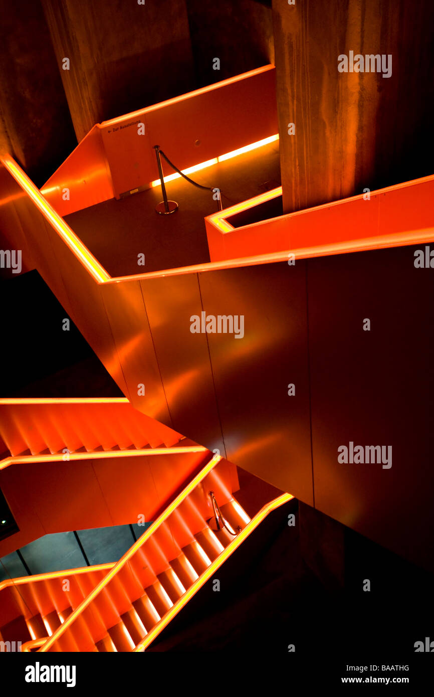 illuminated staircase at Zeche Zollverein industrial complex - Stock Image