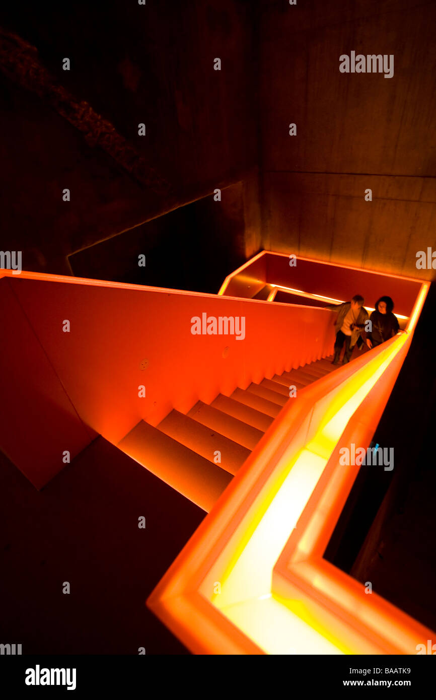 illuminated staircase at UNESCO world heritage site Zeche Zollverein industrial complex in Essen - Stock Image
