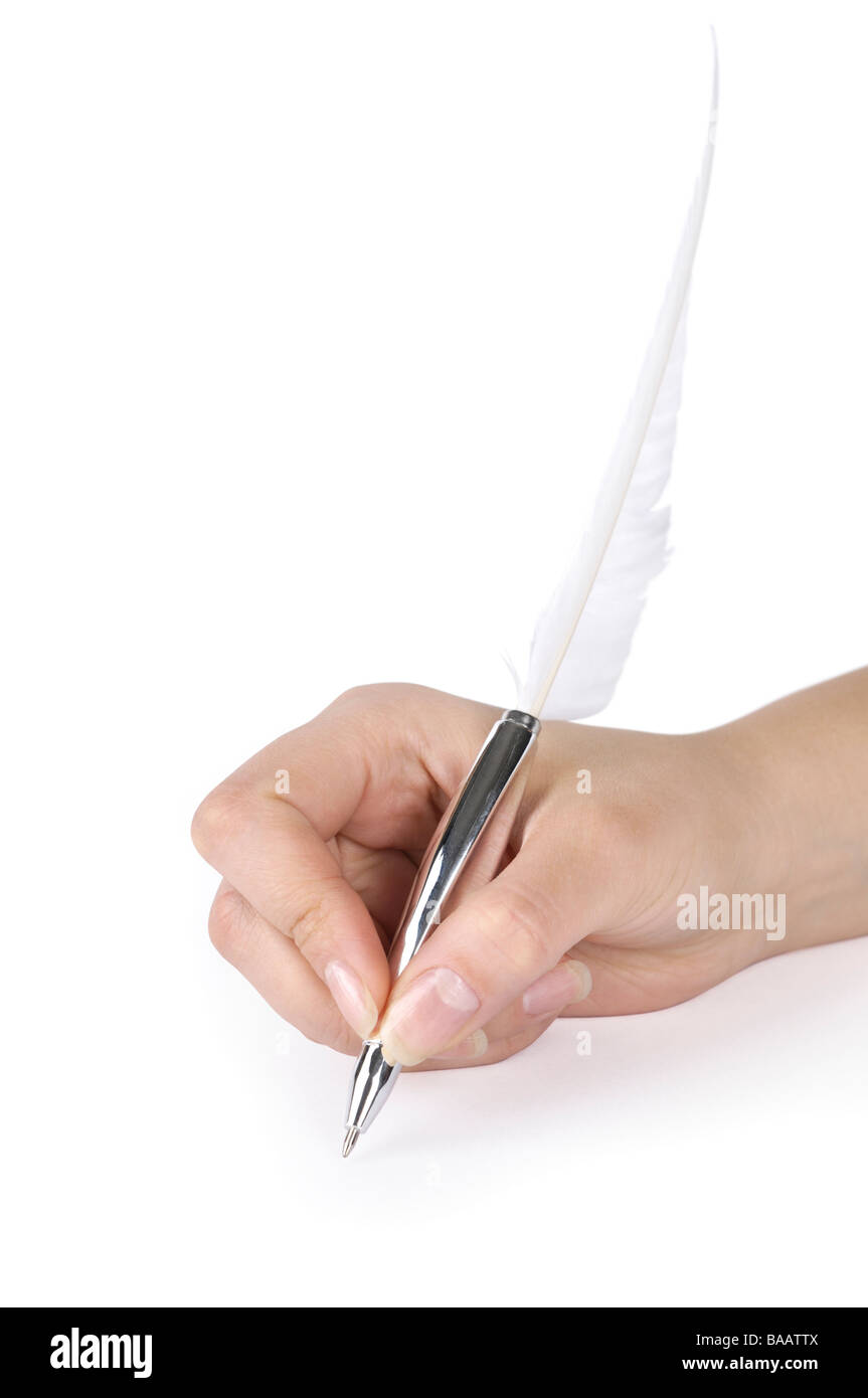 Woman writing with a quill pen - Stock Image