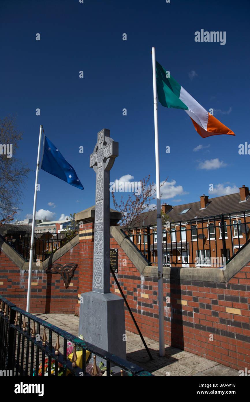 Republican commemoration garden in the markets area of belfast northern ireland uk - Stock Image