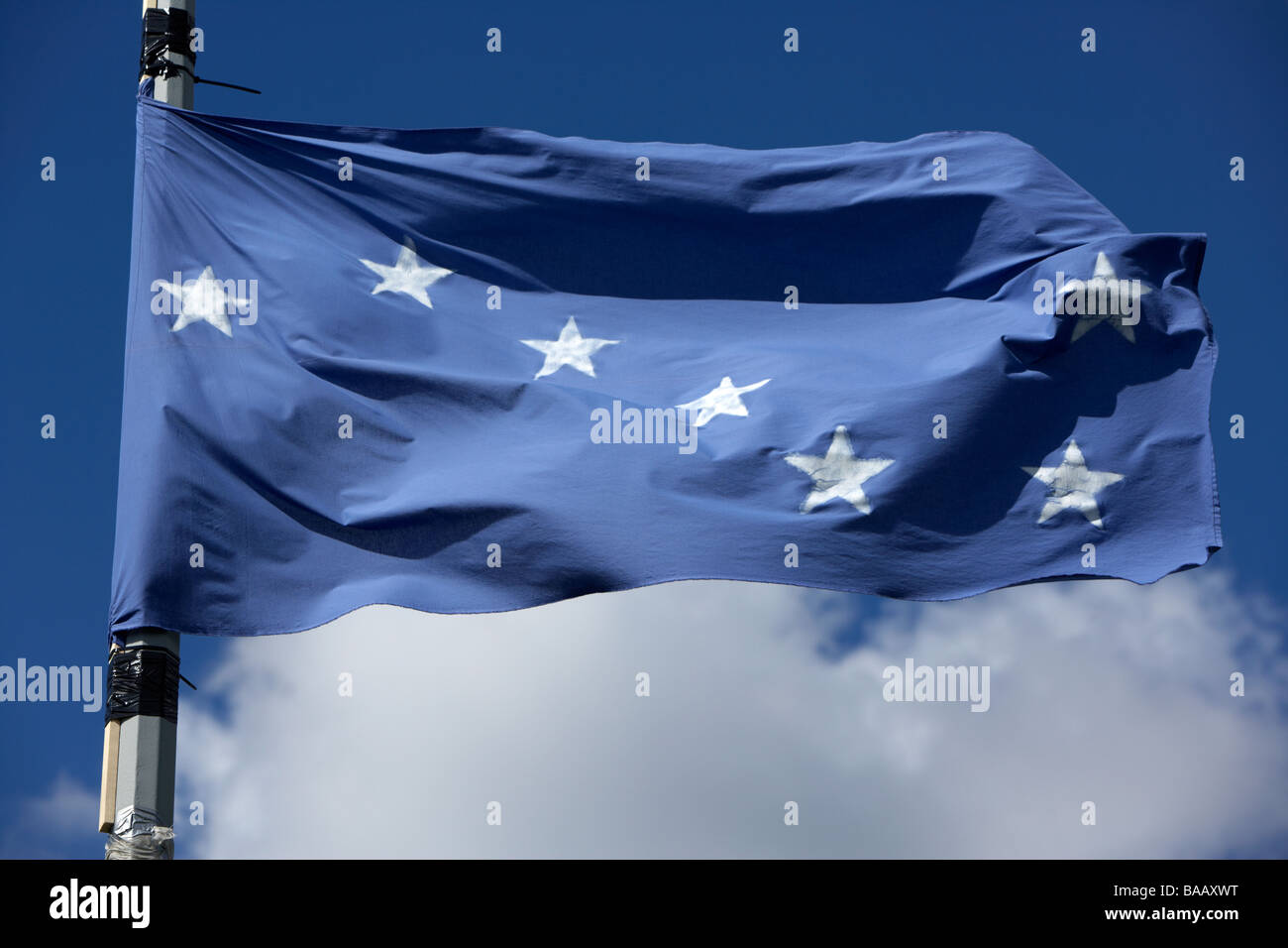 The starry plough flag flying originally used by the Irish Citizen Army but later by the Irish National Liberation Stock Photo