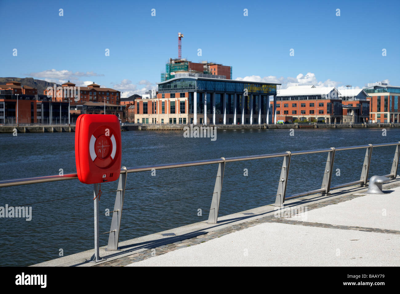 lifebelt on riverside walkway along the river lagan laganside belfast northern ireland - Stock Image