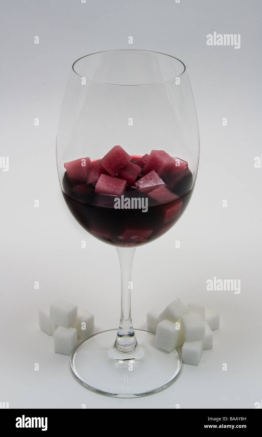 Glass Of Wine Sugar Cubes Illustrating The Calories In Wine Stock