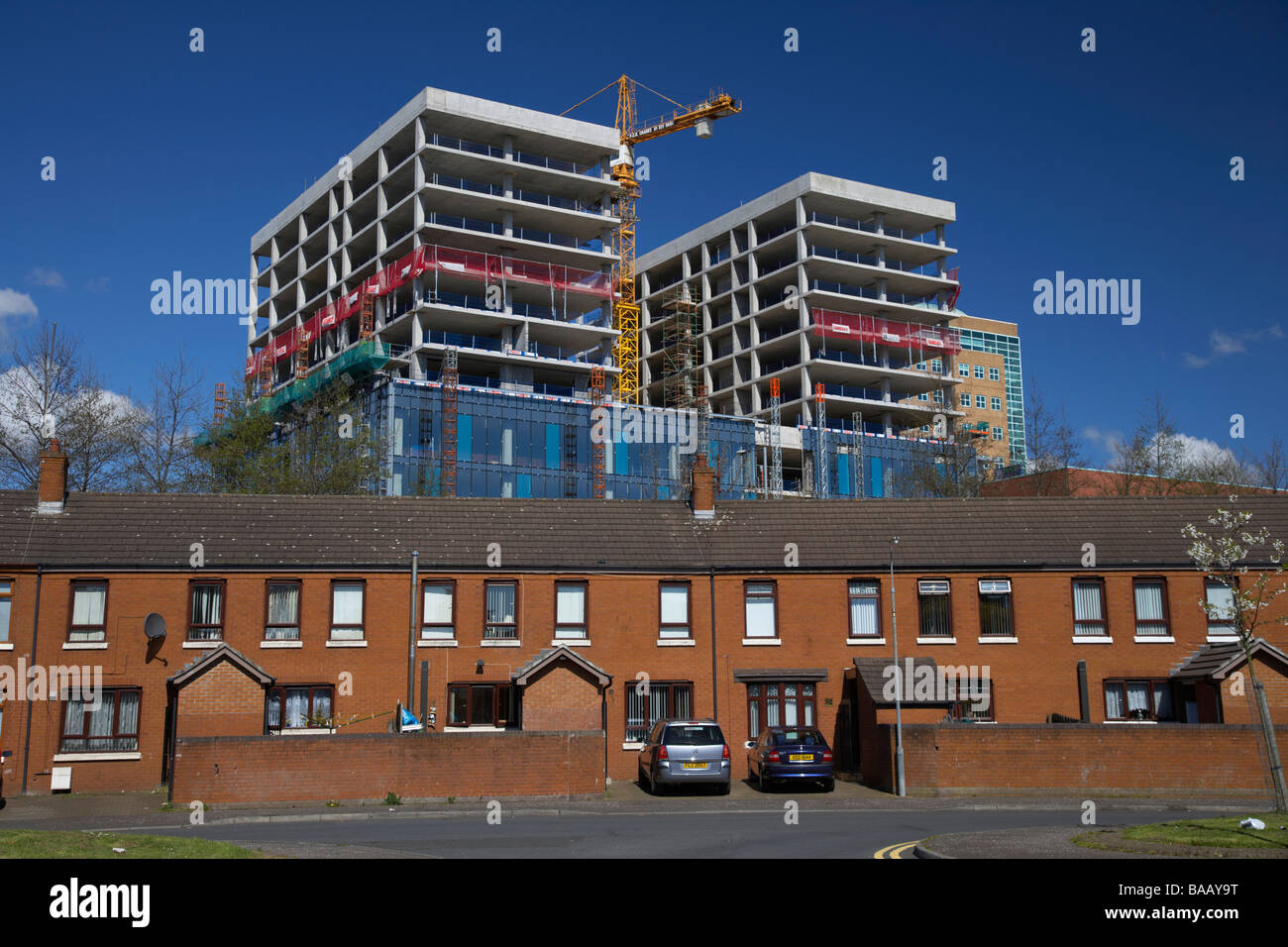 new office block and apartment buildings being constructed as part of a regeneration programme in the laganside - Stock Image