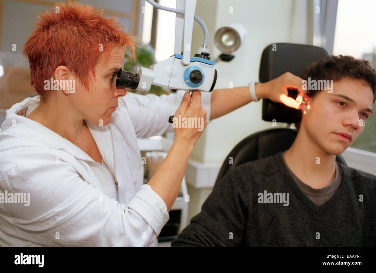 Ent Specialist Treating A Patient Berlin Germany Stock Photo Alamy