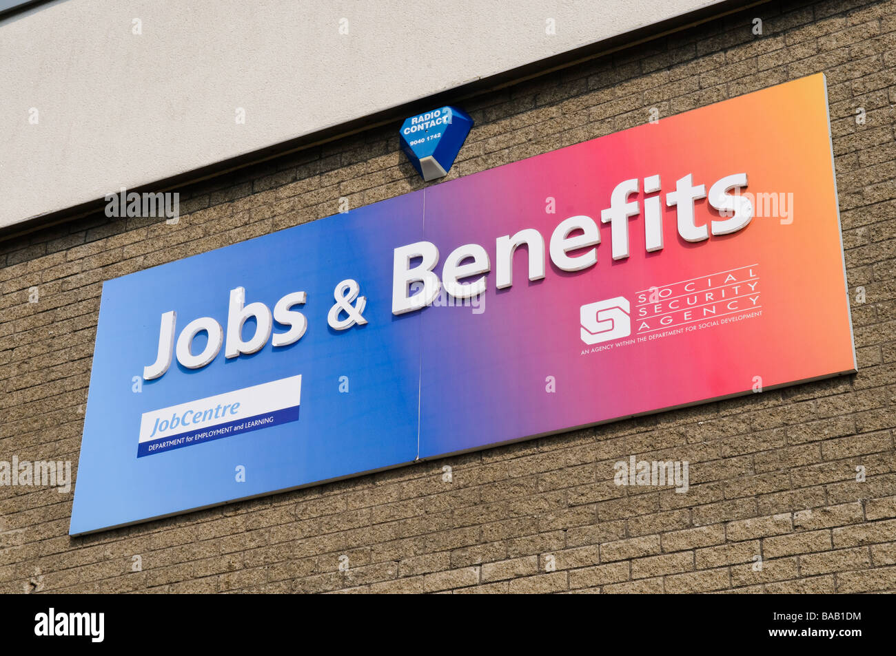 Sign at a Jobs and Benefits office, part of the Department for Social Development - Stock Image