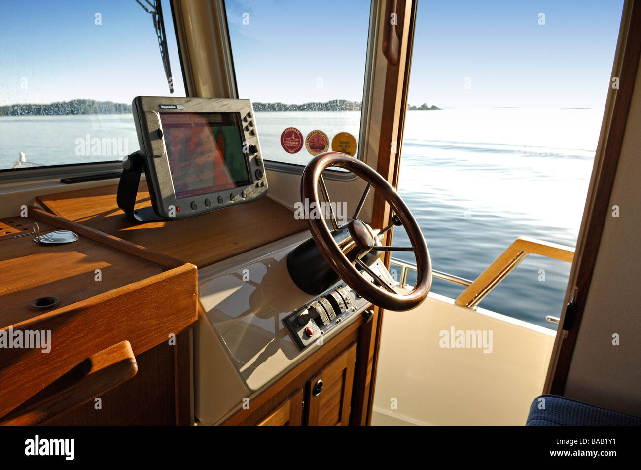 Driver seat on a boat, Sweden. - Stock Image