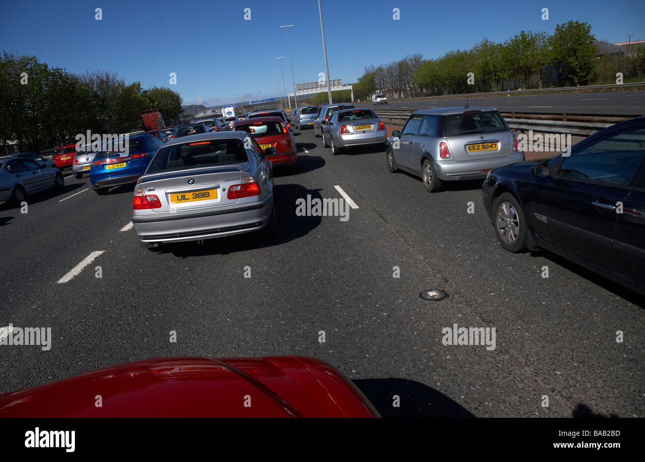 traffic jam on the M2 motorway outside belfast in northern ireland on a bank holiday - Stock Image