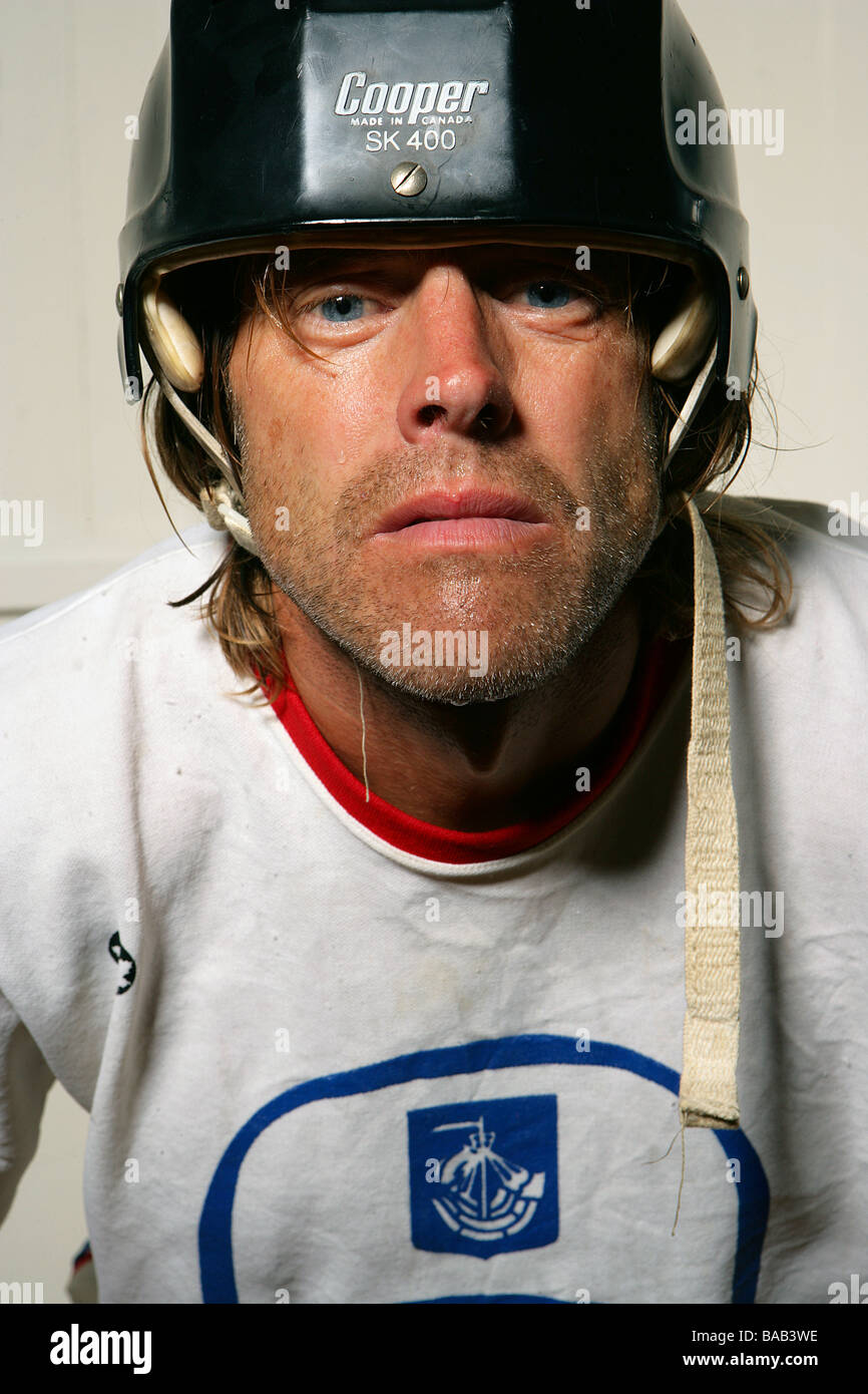 Portrait of an ice hockey player, Sweden. - Stock Image