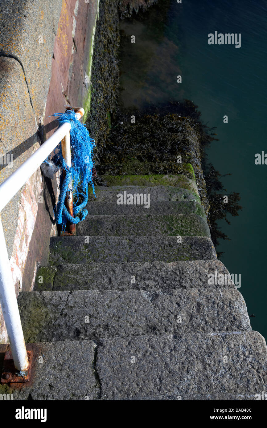 stone steps with white handrail leading down a harbour wall into the sea - Stock Image