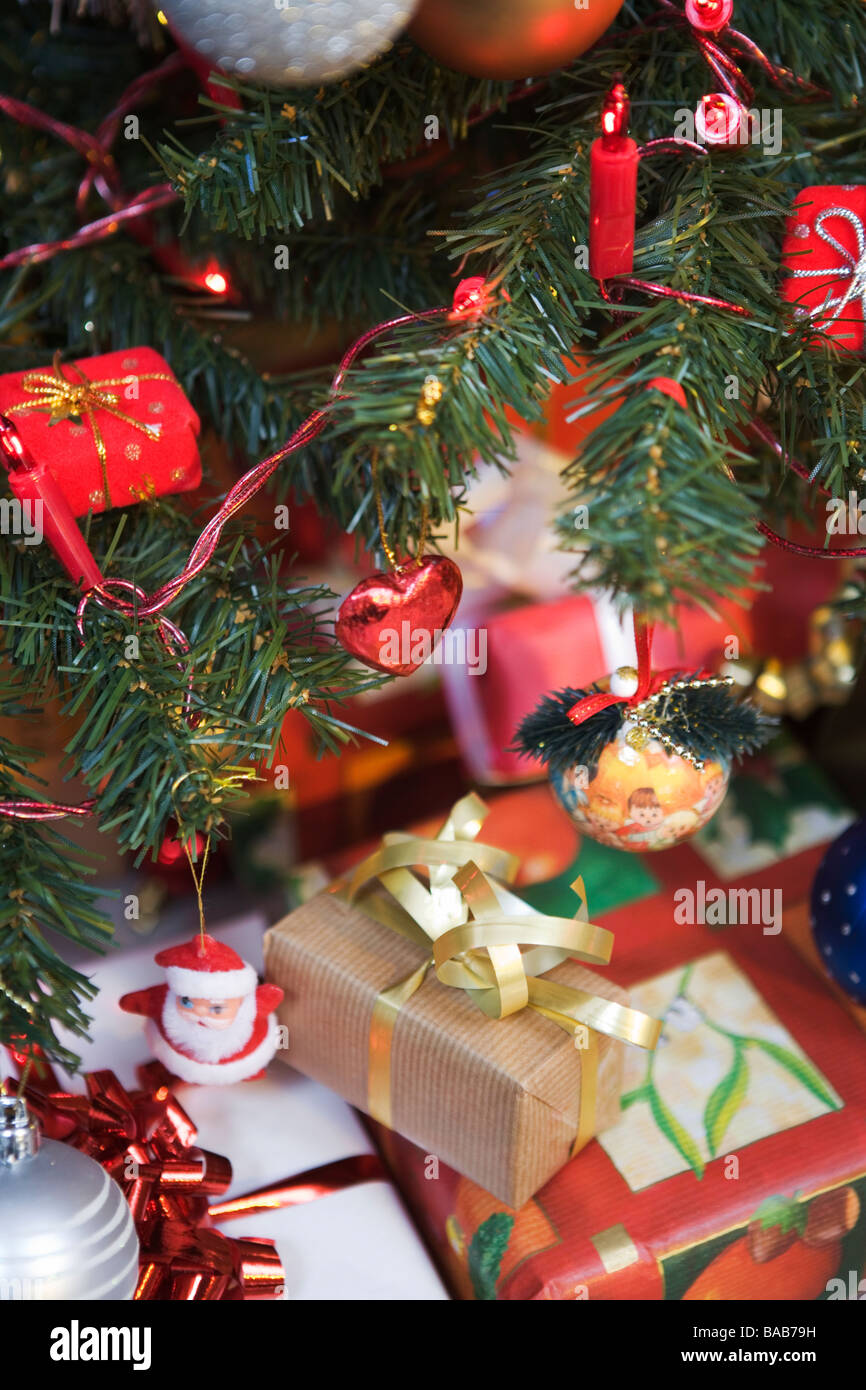 a christmas tree with decorations and christmas presents sweden stock image