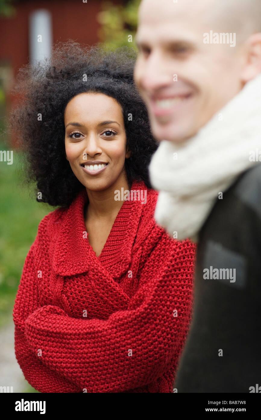 Portrait of a couple, Sweden. - Stock Image