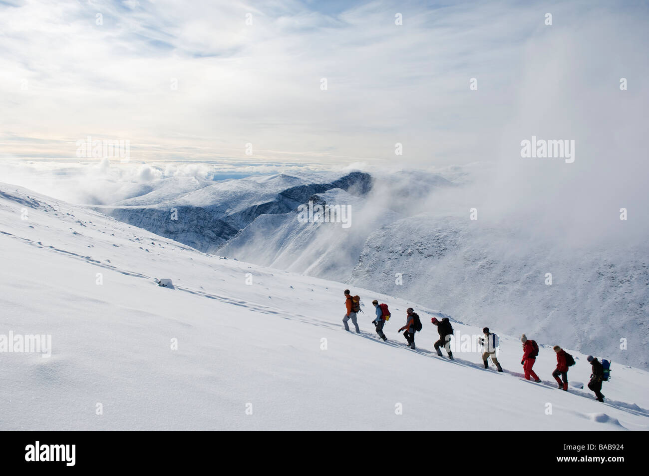 A group of people climbing Kebnekaise Sweden. - Stock Image