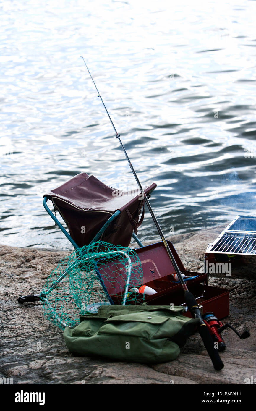 Fishing equipment by the water Sweden. - Stock Image