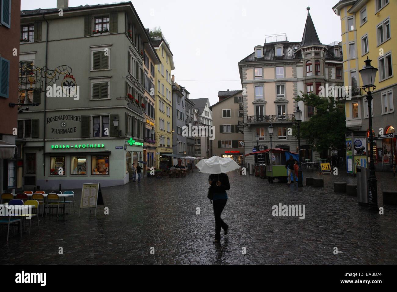 Hirschenplatz Square On A Rainy Day Zurich Switzerland