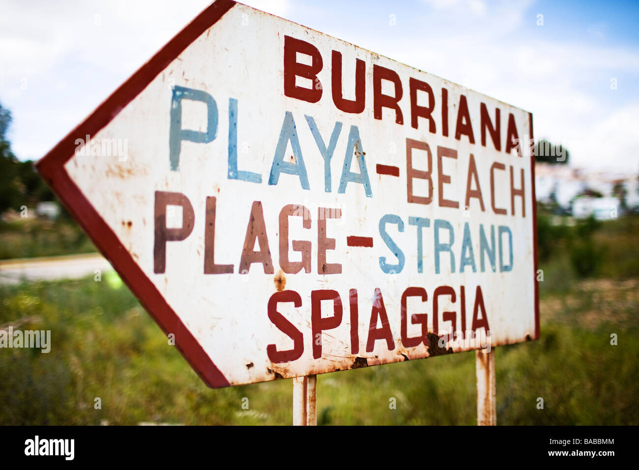 A sign the beach Andalusia Spain. Stock Photo