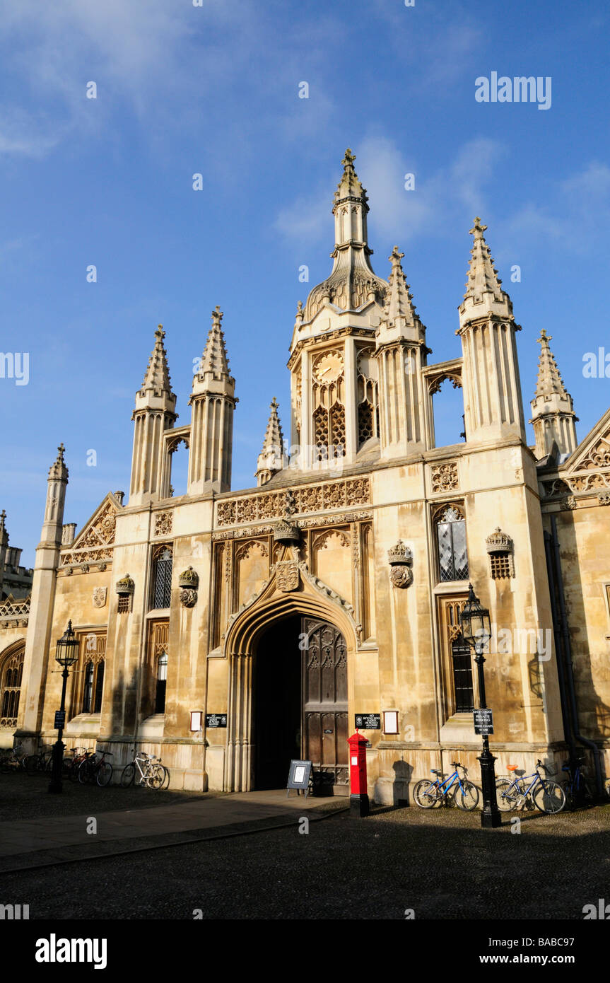 Kings College Gatehouse, Kings Parade, Cambridge England UK - Stock Image