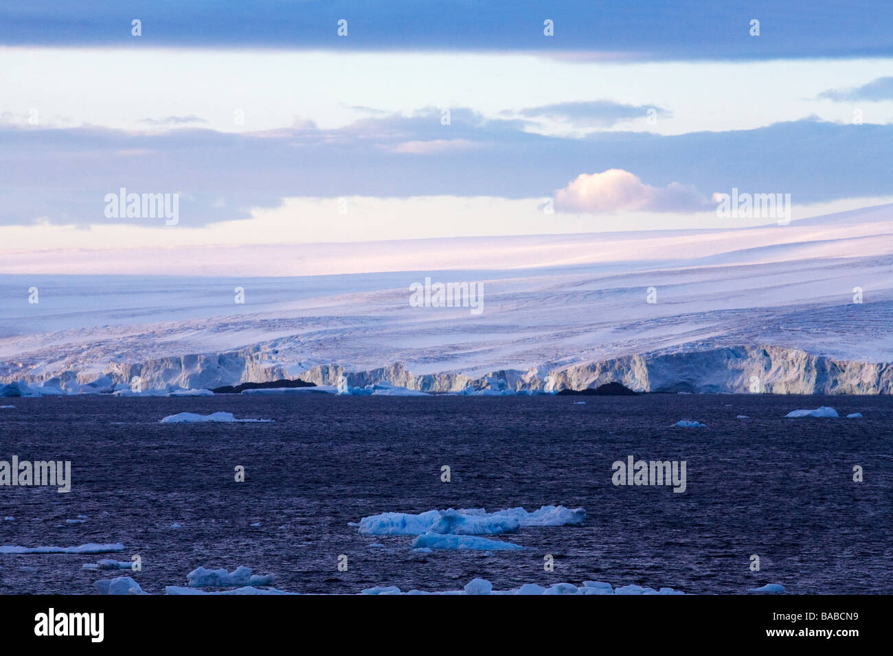 Glaciers meet the sea on the Antarctic Peninsula near Paulet Island Antarctica - Stock Image