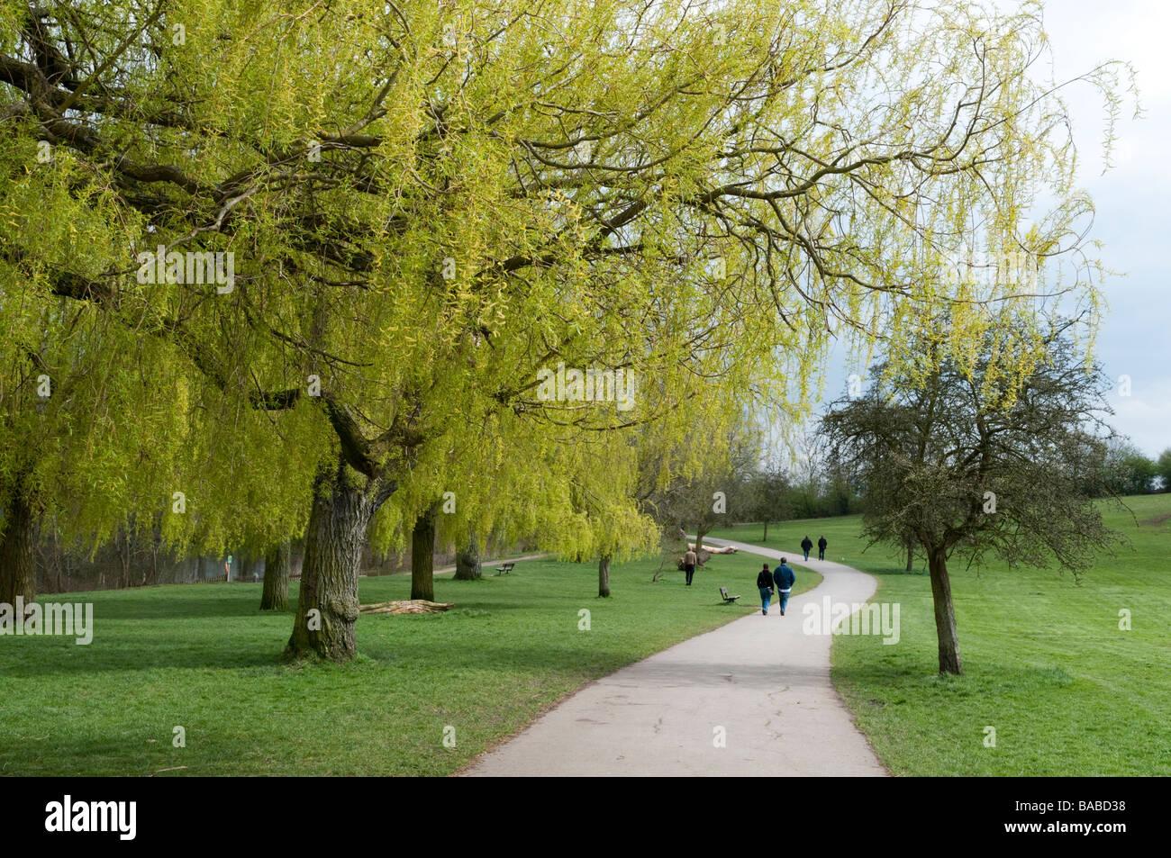 People walking on Hampstead Heath, London, England, UK - Stock Image