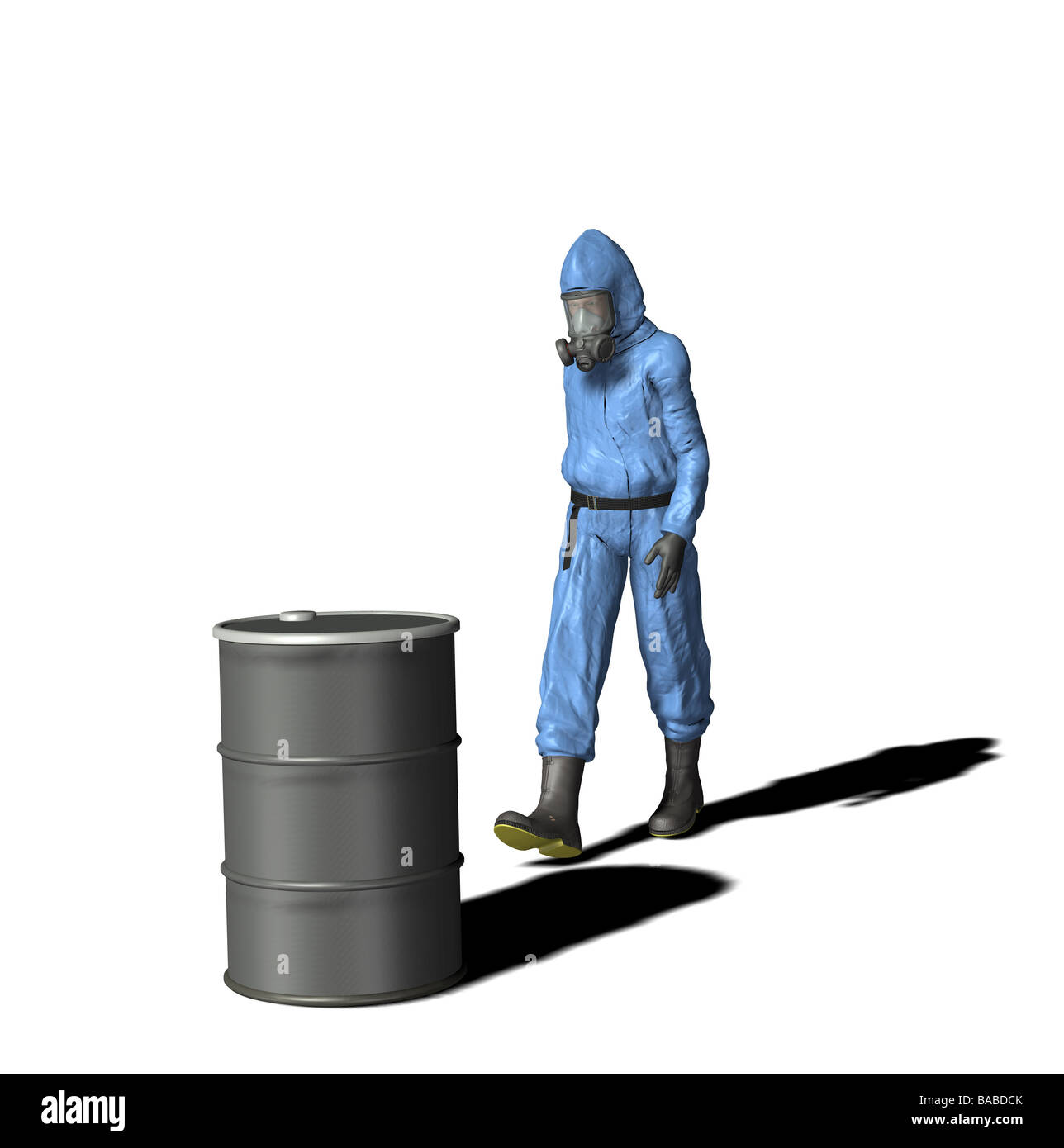 hazardous materials hazmat material overall protective equipment personal equipment chemistry firefighter fireman - Stock Image