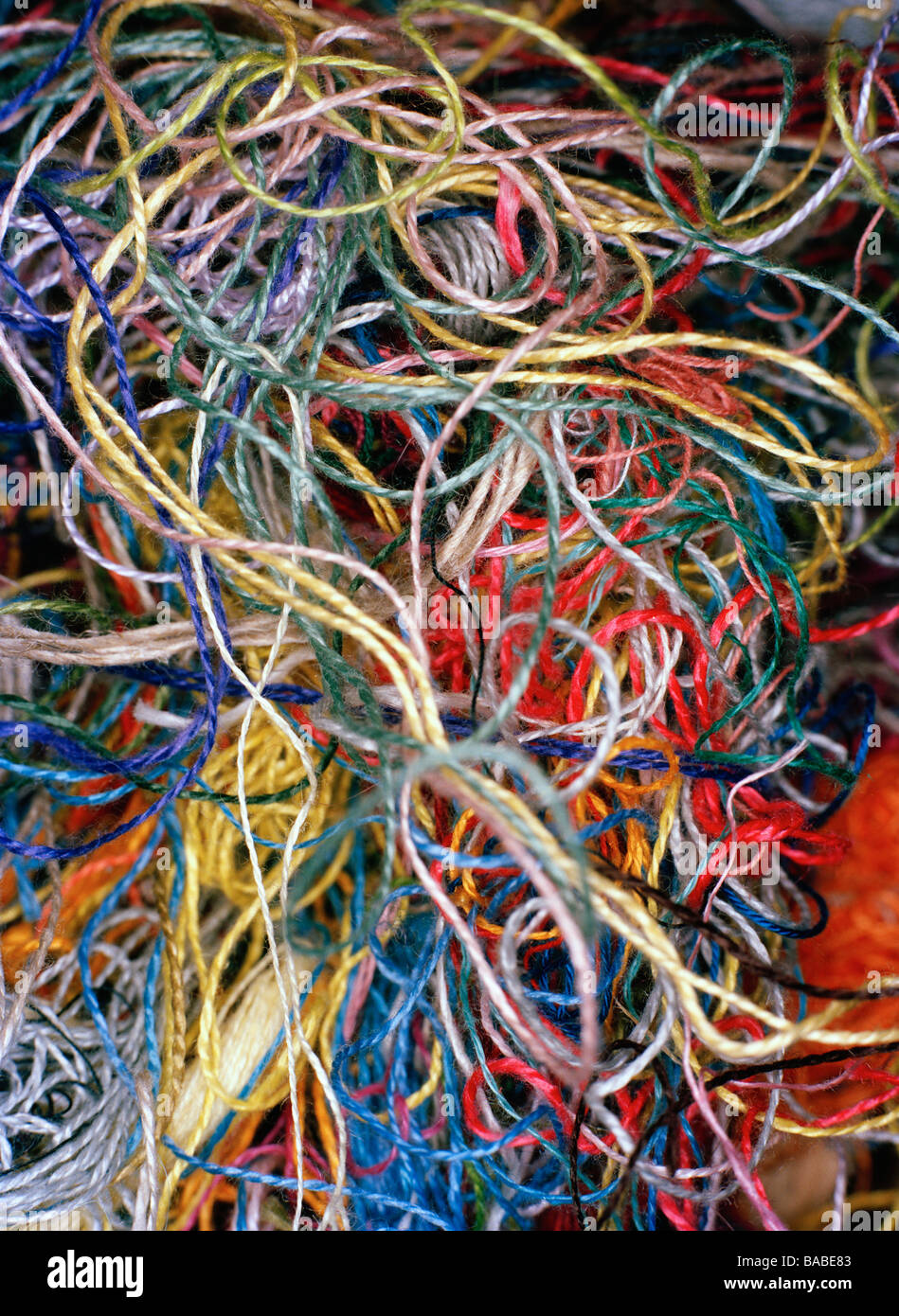 Yarn in disorder close-up - Stock Image