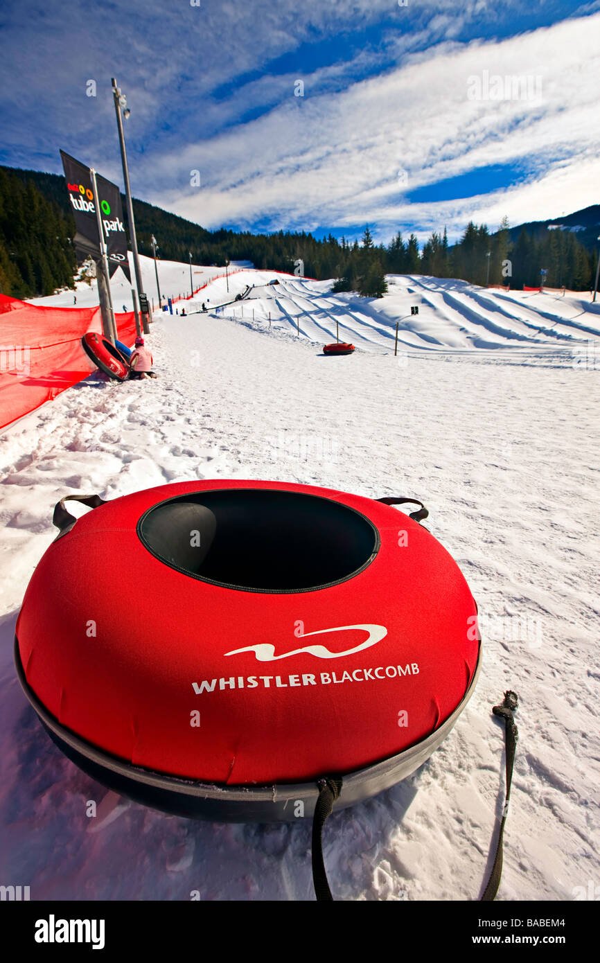 Inflated tube at the Coca Cola Tube Park on Blackcomb Mountain Whistler Blackcomb Whistler British Columbia Canada Stock Photo