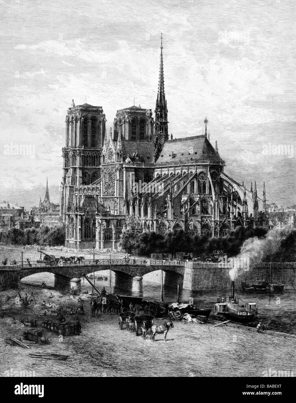 Etching of Notre-Dame Cathedral in Paris, circa 1870 - Stock Image