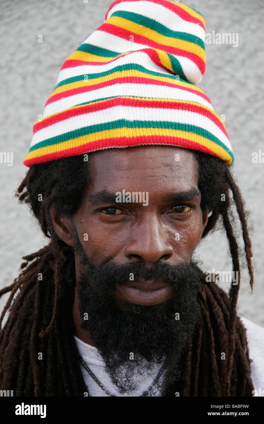 A portrait of a Jamaican Rastafarian man - Stock Image