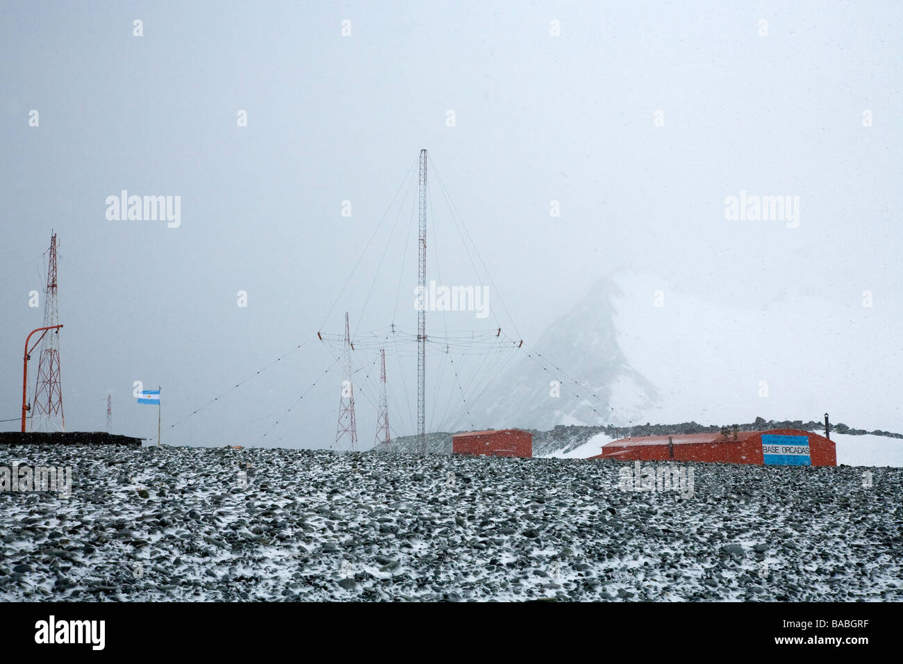 Sub-antarctic blizzard Orcadas Argentinian research base Laurie Island South Orkneys Antarctica - Stock Image