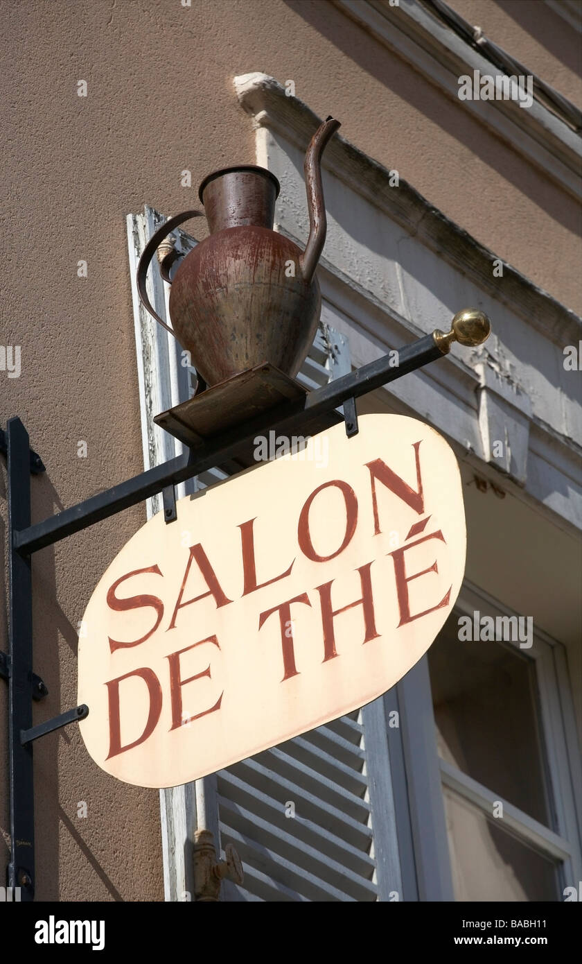 Tearoom sign at Chartres Eure et Loir France - Stock Image