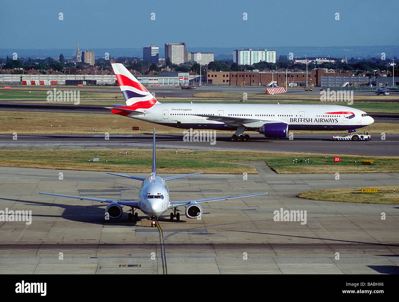 A Lufthansa Boeing 737 and British Airways Boeing 777 at London