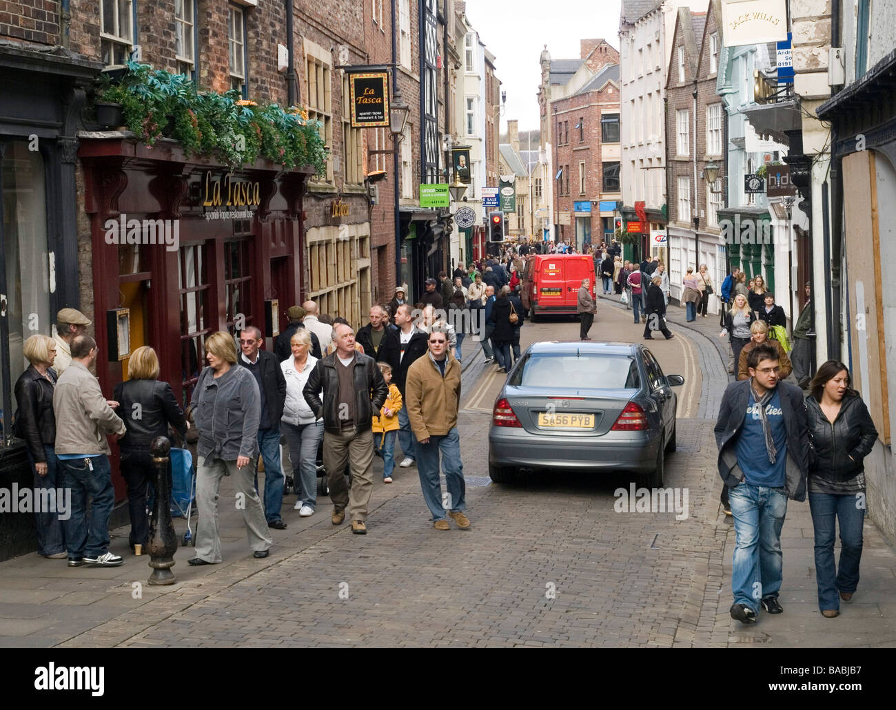 Busy Shopping Streets In Durham City Centre North East England Uk