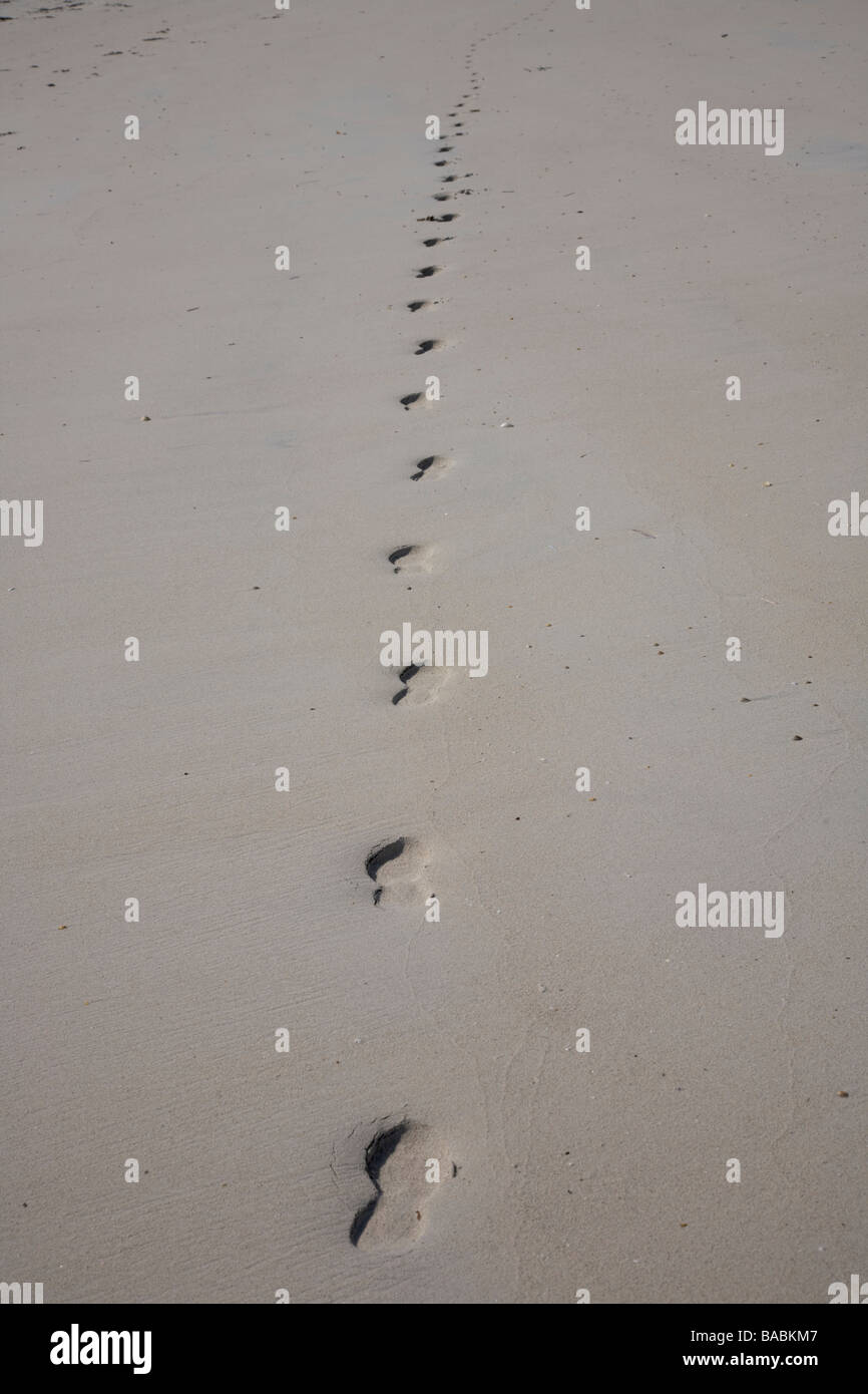 Castlebay United Kingdom Scotland GB Vatersay Outer Hebrides beach and Castlebay bay Beach Footprints - Stock Image