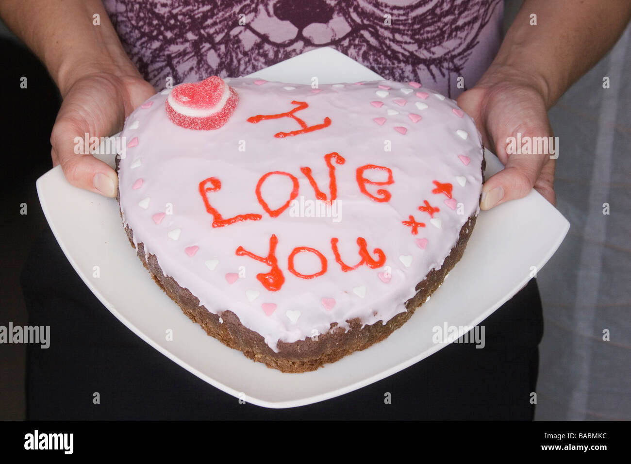 Woman S Hands Holding Home Made Heart Shaped Cake Decorated With The