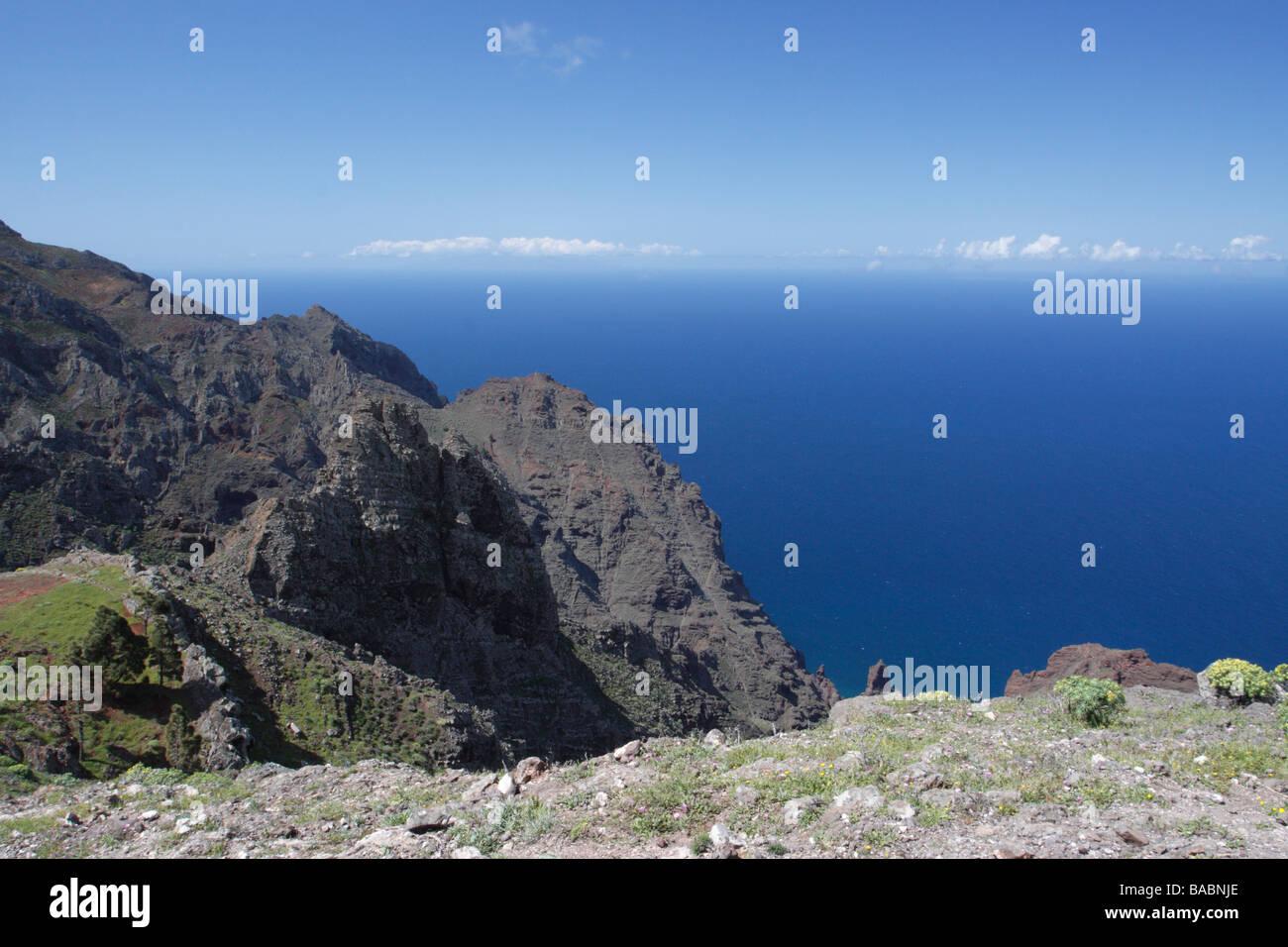 A view over the ocean from La Merica, La Gomera, Spain - Stock Image