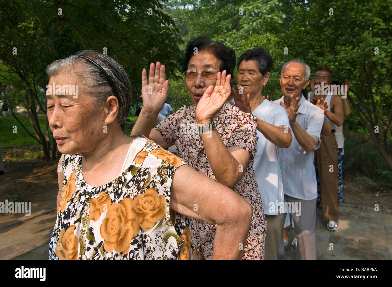 Friends line up and slap shoulders during exercises, Jingshan Park, Beijing, China - Stock Image